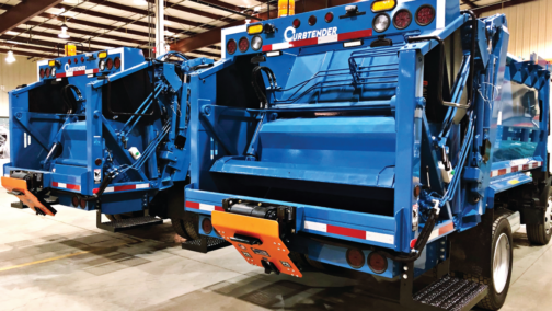 Waste and Recycling Truck painted in a Blue Endura Paint System